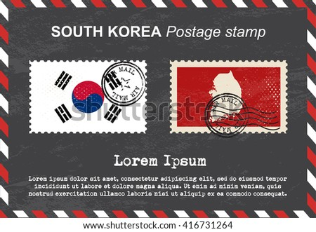 South Korea postage stamp, postage stamp, vintage stamp, air mail envelope. - stock vector