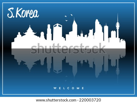South Korea, skyline silhouette vector design on parliament blue and black background. - stock vector