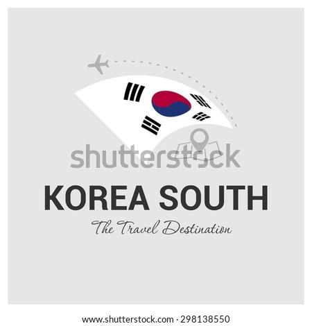 South Korea The Travel Destination logo - Vector travel company logo design - Country Flag Travel and Tourism concept t shirt graphics - vector illustration - stock vector