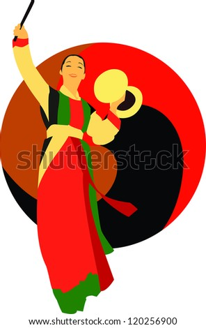 South Korean ethnic Dancers - stock vector