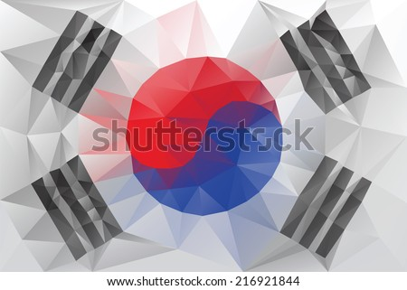 South Korean flag - triangular polygonal vector pattern - stock vector