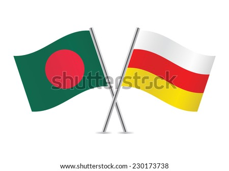 South Ossetia and Bangladesh  flags. Vector illustration. - stock vector
