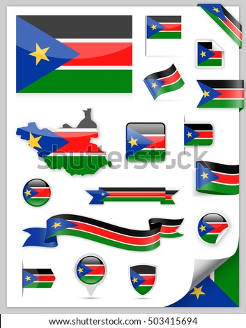 South Sudan Flag Set - Vector Collection