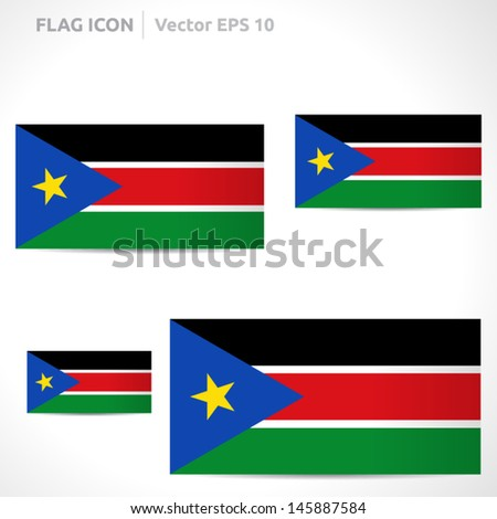South Sudan flag template | vector symbol design | color yellow red black white green and blue | icon set - stock vector