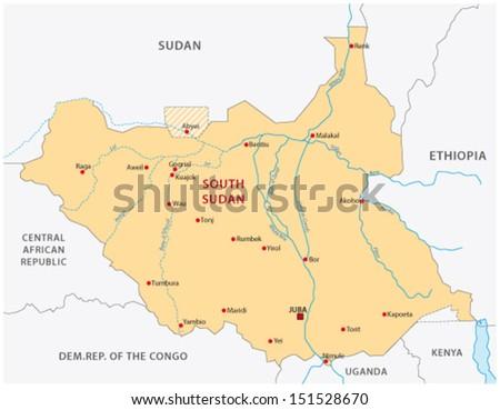 south sudan map - stock vector