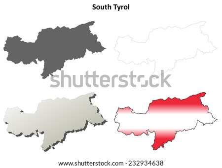 South Tyrol (Bolzano) blank detailed outline map set - Austrian version - stock vector