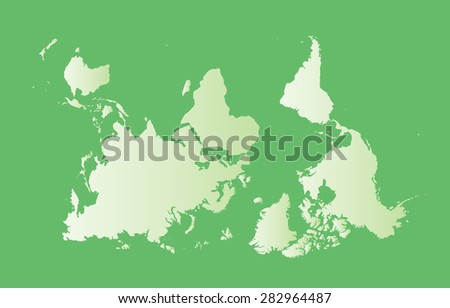 South-up orientation world map. Vector illustration