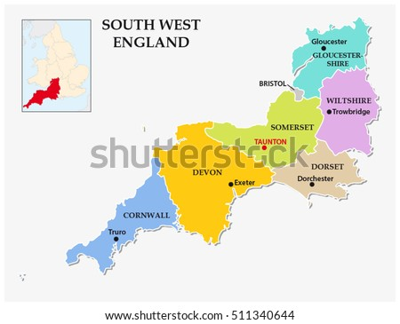 south west england administrative and political map