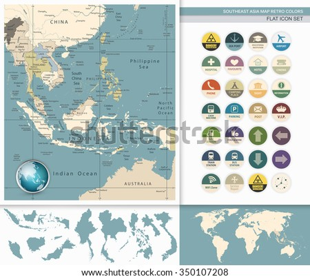 Southeast Asia Detailed Map and Flat Icon Set. Retro Colors. All elements are separated in editable layers clearly labeled. - stock vector