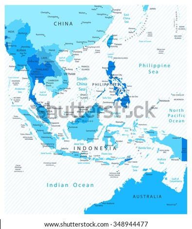 Southeast Asia Detailed Map Blue Colors