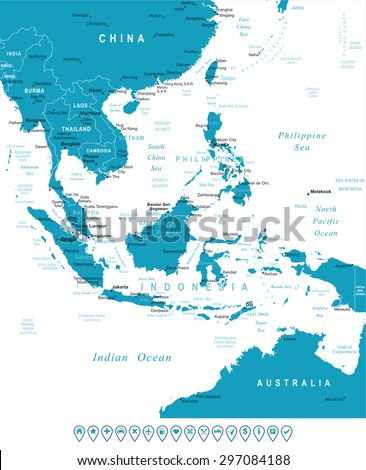 Southeast Asia - map and navigation labels - illustration