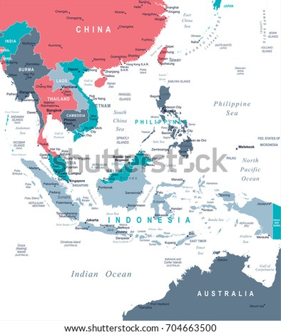 southeast asia map detailed vector illustration