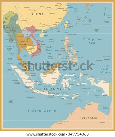 southeast asia map detailed vintage colorsall elements are separated in editable layers clearly labeled