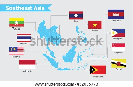 southeast asia map vector illustration