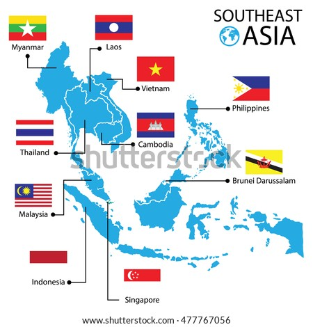 southeast asia world map vector illustration