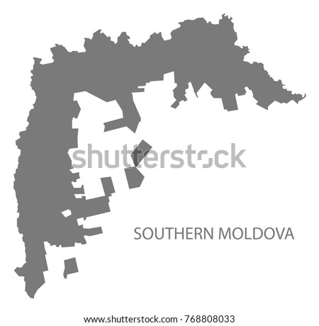Southern Moldova Map Grey Illustration Silhouette Stock Vector - Moldova map vector