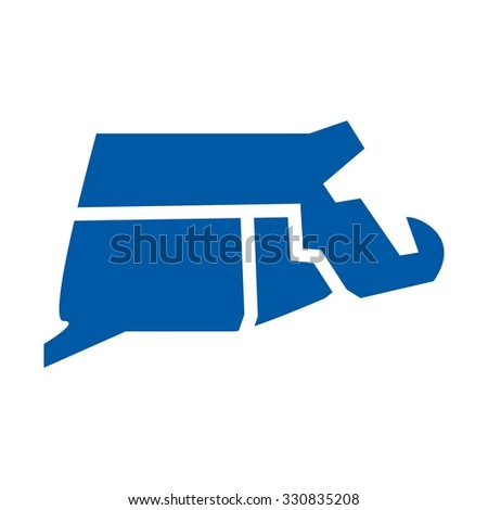 southern new england map - stock vector