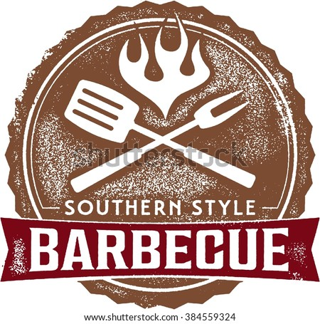 Southern Style Barbecue BBQ Stamp - stock vector
