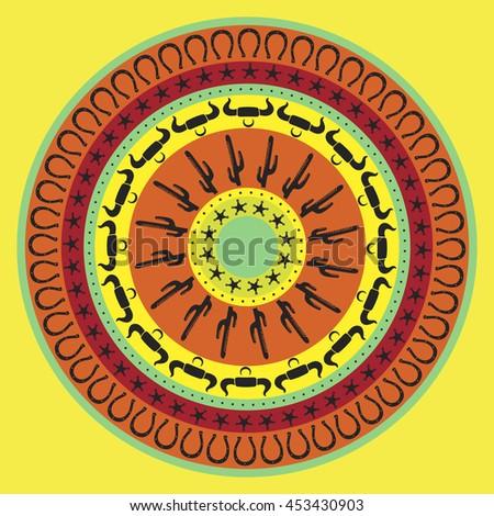Southwest Cowboy Round Mandala Vector Illustration Stock Vector