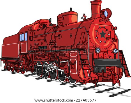 Soviet retro red locomotive train with a black star isolated on white background.
