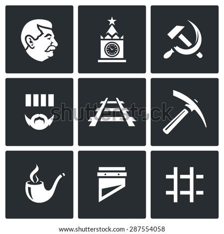 Soviet Union and the repression of political prisoners icons set. Vector Illustration. Isolated Flat Icons collection on a black background for design - stock vector