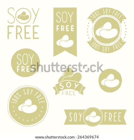 Soy free badges - stock vector
