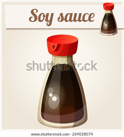 Soy sauce. Detailed Vector Icon. Series of food and drink and ingredients for cooking. - stock vector