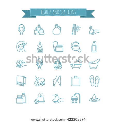 Spa and Beauty vector  thin line icon set for web, polygraphy, etc.
