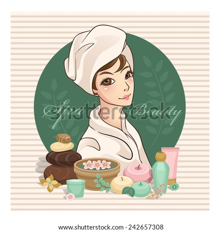 Spa and beauty with beautiful girl wearing towel and cosmetic set  - stock vector