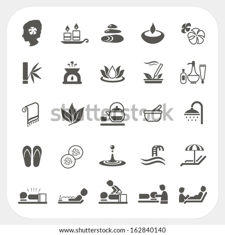 Spa and massage icons set - stock vector