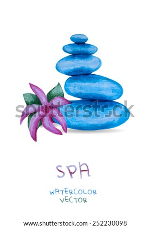 spa and massage stones with flower isolated on white background. Stone therapy. Vector eps10 - stock vector