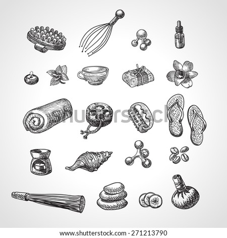 SPA and massage vector accessories set. Hand drawn wellness icon set, sketch style. 21 pieces. - stock vector