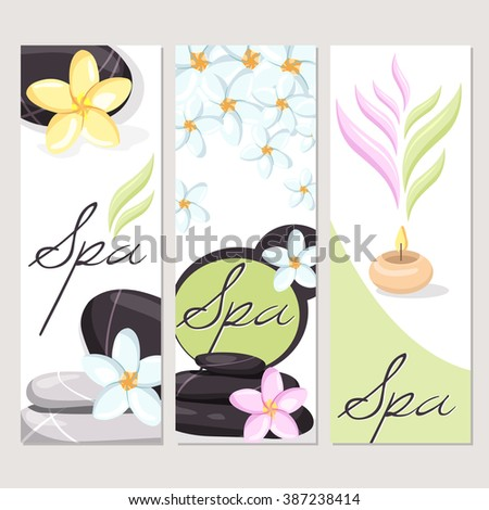 Spa and wellness brochures set, vector mockup with frangipani flowers, stones, bamboo plant. Salon design llustration