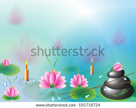 Spa background with stones and lotuses, vector