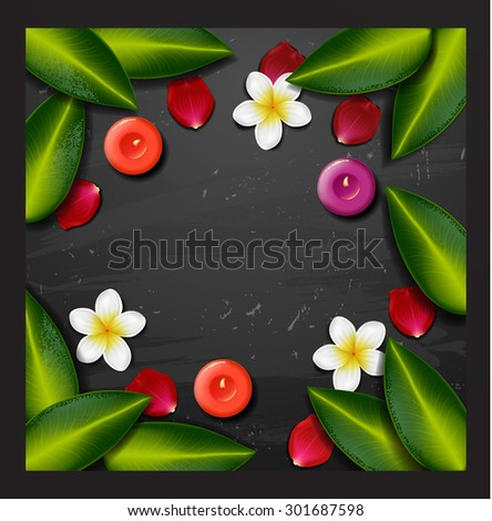 spa background with tropical flowers and stone spa candle. Summer tropical green leaves - stock vector
