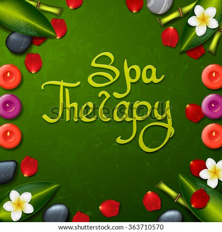 spa background with tropical flowers and stone spa candle. Summer tropical green leaves.green background. spa therapy - stock vector