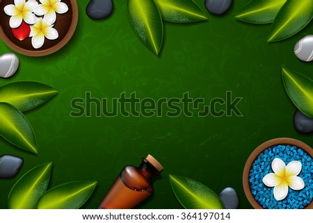 spa background with tropical flowers and stone spa candle. Summer tropical green leaves.green background. spa therapy. Blue sea salt - stock vector