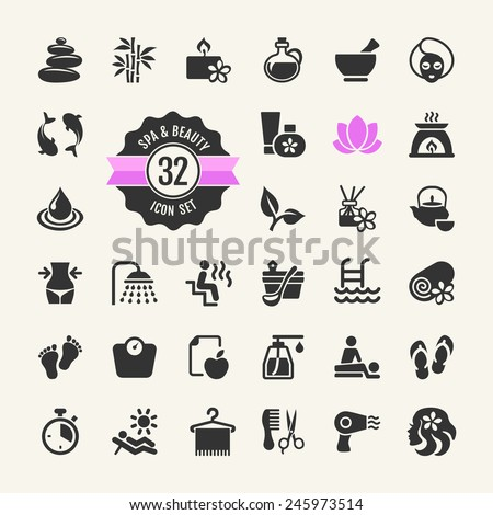 Spa & Beauty - vector Icons set  - stock vector