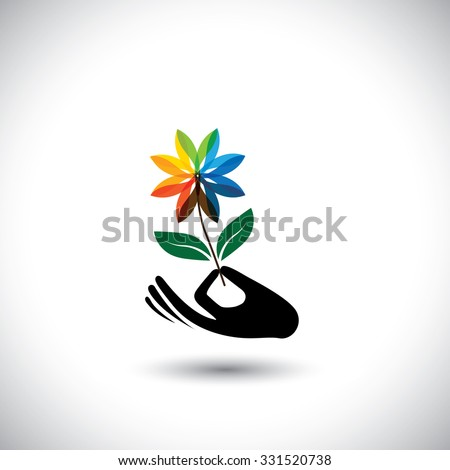 spa concept graphic with woman's hand & flower - vector icons. This also represents beauty business, rejuvenation & healing centers, luxury resorts, alternative therapy - stock vector