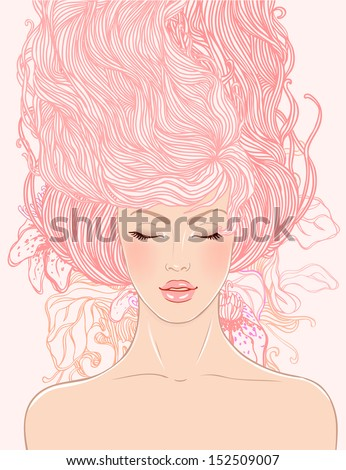 Spa: fashion beautiful woman with long pink wavy hair