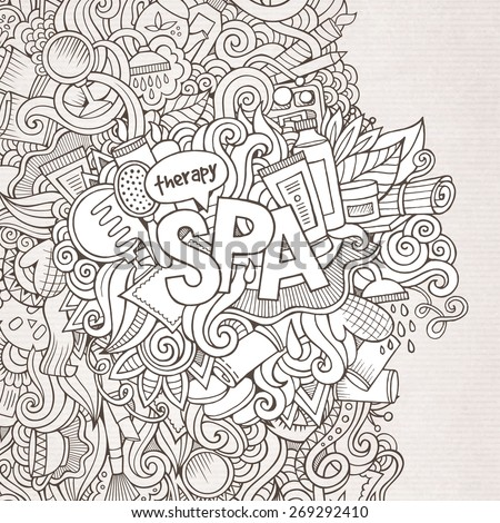 Spa hand lettering and doodles elements background. Vector illustration  - stock vector