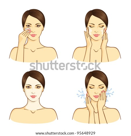 SPA, health and beauty set with young Asian woman - stock vector