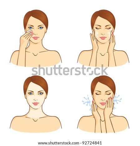 SPA, health and beauty set with young woman - stock vector