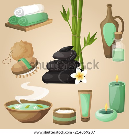Spa healthcare salon therapy relax natural products beauty care icons set isolated vector illustration