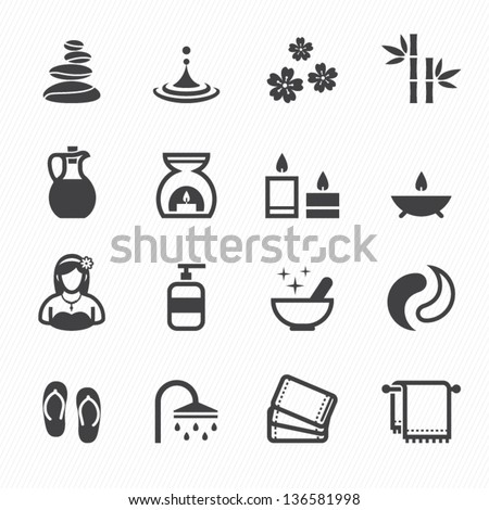 Spa Icons with White Background - stock vector