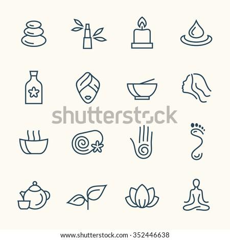 Spa line icon set - stock vector