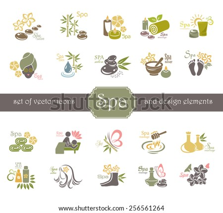 Spa logo and design elements. - stock vector