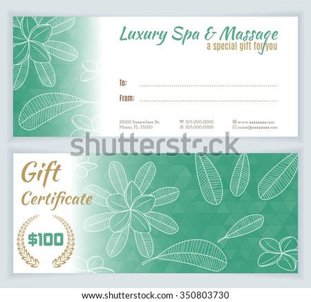 Spa, massage gift certificate template with hand drawn frangipani, plumeria. Background for invitation, money design, currency, note, check (cheque), ticket, reward. Beauty and health concept. Vector. - stock vector