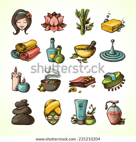 Spa Massage Therapy Wellness Sketch Colored Decorative Icons Set Vector Illustration - stock vector
