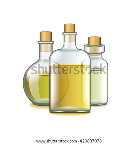 Spa oils isolated on white photo-realistic vector illustration